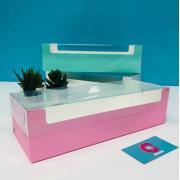 Коробка под рулет с пластиковой крышкой 300*110*80 (розовая матовая)