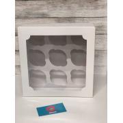 Коробка на 9 капкейков белая с окном НОВАЯ