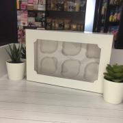 Коробка на 6 капкейков белая с окном НОВАЯ
