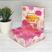 Коробка для кондитерских изделий с PVC крышкой Have nice day, 10,5 × 10,5 × 3 см