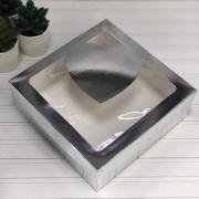 Коробка 200*200*70 под зефир и печенье с окном/сердце  (серебро)