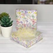 Коробка для кондитерских изделий с PVC крышкой «Бабочки», 10,5 × 10,5 × 3 см