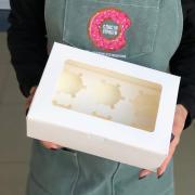 Коробка на 6 капкейков белая с окном*