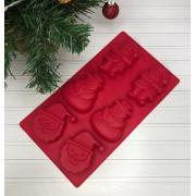 3626725 Форма для выпечки силикон Новый год. Дед мороз и снеговик 6ячеек. 28*16*2.5см