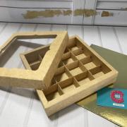 Коробка для конфет на 16 штук крафт