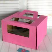Коробка 300*300*190 с/о с ручками (розовая